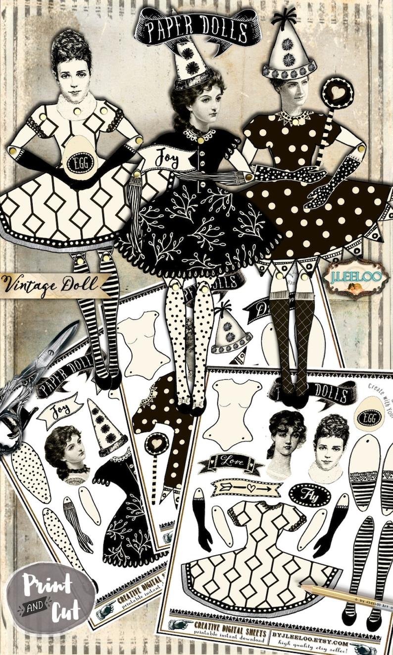 DANCER PAPER DOLLS digital altered art Digital collage sheet  for journal page scrapbooking diary art instant download printable pp365