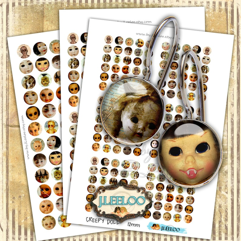 Digital printable CREEPY DOLL 12mm 16mm 20mm circle gothic scary halloween  earrings rings instant download Digital collage sheet tn468