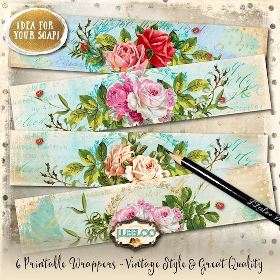 Wrapper Roses Printable Vintage Soap Wrap Bookmarks Digital Sheet Instant Download Shabby Chic Dots Stripes Background Papers Pp378