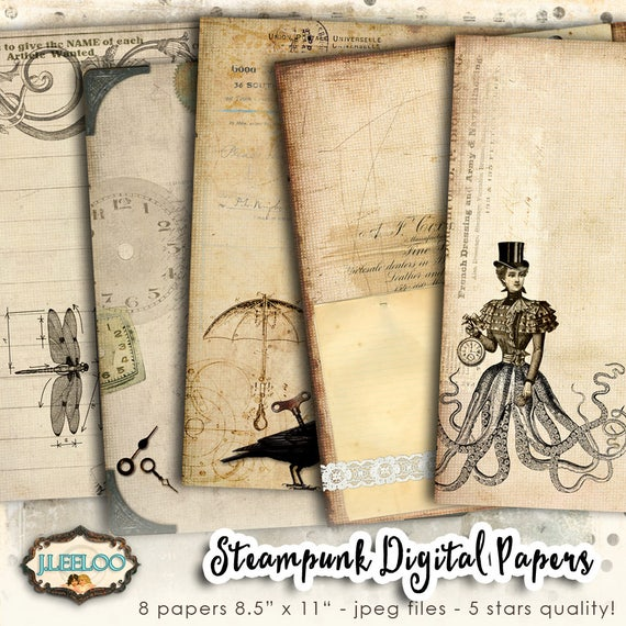 STEAMPUNK digital papers scrapbook
