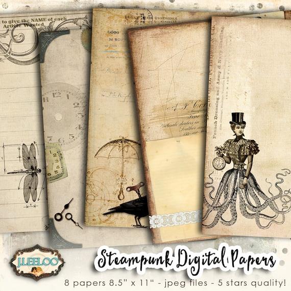 STEAMPUNK digital papers scrapbook