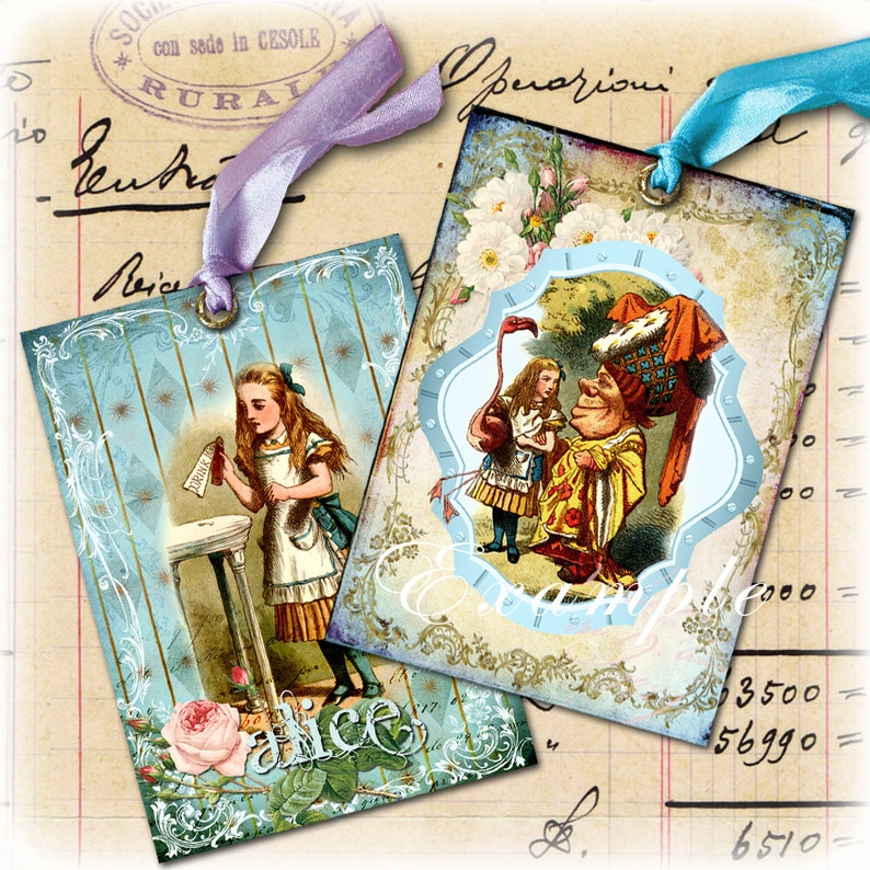 ALICE printable atc size  Digital collage sheet wonderland painting jewelry holder instant download background paper ac105