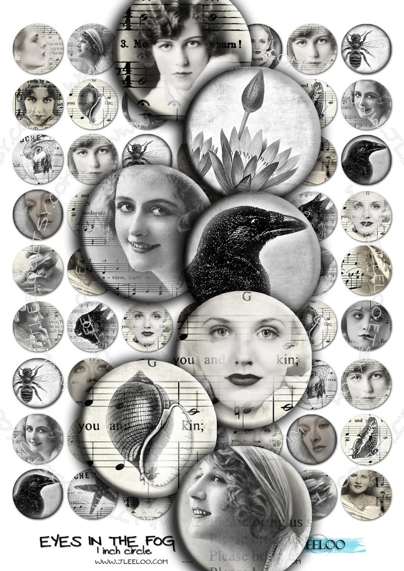 Digital collage EYES in THE FOG 1 inch circle black white woman romantic for pendant clipart magnet instant download printable tn187