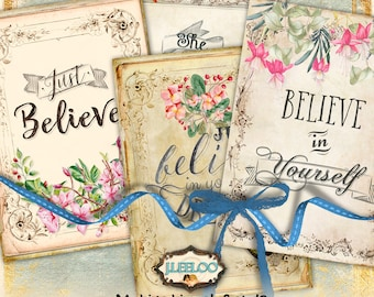 BELIEVE 3.5x2.5 inch aceo motivational digital papers - vintage quote hang tags instant download printable - Digital collage sheet - ac297