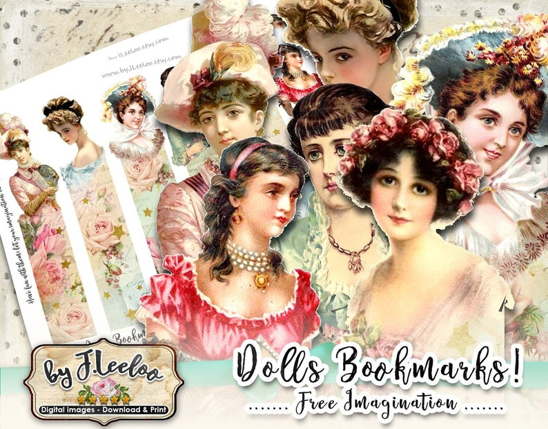 bm104 DOLLS BOOKMARKS printable paper victorian digital collage sheet instant download mixed media journal art