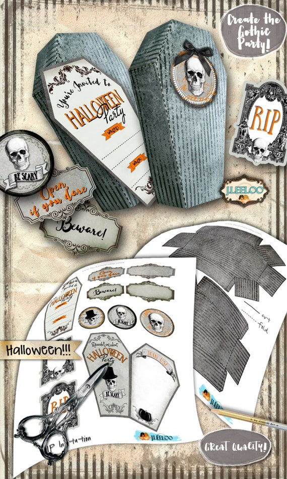 RIP Sarg Halloweenparty-Einladung digitale Collage Blatt   Etsy