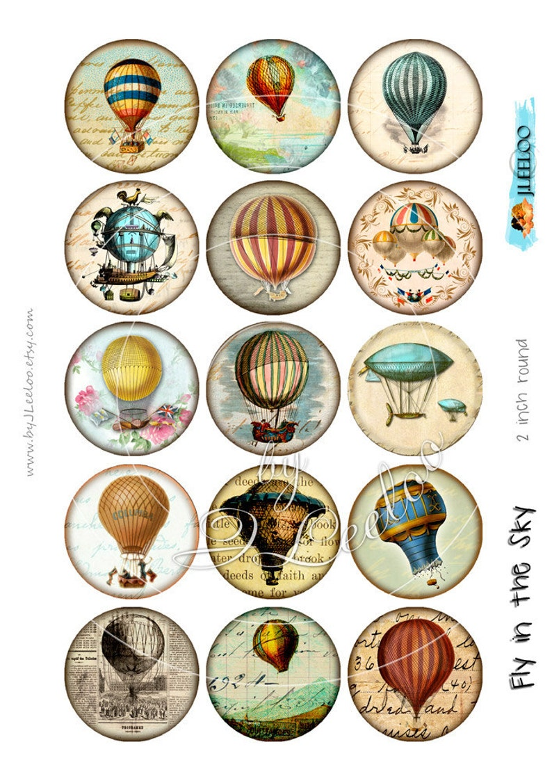 Digital collages FLY in the SKY 2 inch circle hot air balloon montgolfier for pendant magnet craft instant download print paper tn520