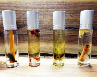 Set of 4 Organic Scent Roll On Oils with Crystal and Dried Botanical, Scented Gift Set, Free Shipping Gifts, Roll-On Scent, Crystal Roll ons