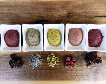 Organic Rose Chamomille Lavender Hibiscus Sorrel Powders, Organic Exfoliators, Natural Exfoliators, Organic Scrubs, Natural Scrubs, Cleanser