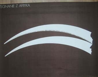 """Out of Africa, Polish poster, Collectible poster, 38x26"""", by Wasilewski, 1987, Robert Redford, minimalist poster, movie prints, excellent"""
