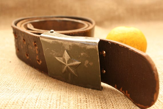 Vintage Military Belt, Leather Belt, Brown Belt, M