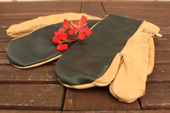 Vintage Gloves, Mens Leather Gloves, Industrial Gl