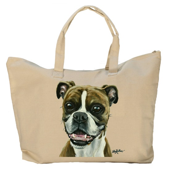 GIFT FOR PET DOG OWNER Personalised /'Boxer Dog/' Canvas Tote Bag