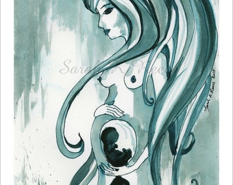 She Loves, Giclee Art Print, ready for 11x14 frame