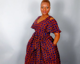 caf17b86e2 NEW IN :African print cold shoulder maxi dress with sash,African clothing,African  wax print,African dresses,dresses,maxi skirts