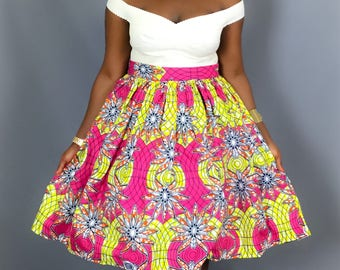 69ff85eca32d African pink print full midi skirt with pockets, dresses,Ankara skirts,dashiki,robe  wax ,African print skirts,maxi skirts ,midi skirts