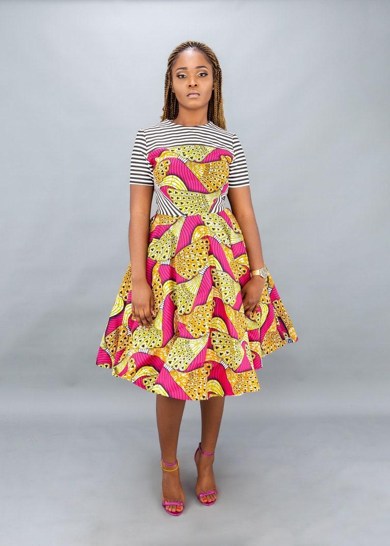 NEW IN:Pink African mixed print dress women\u2019s clothing dresses skirts,skater dresses,Ankara clothing,dashiki clothing handmade clothing