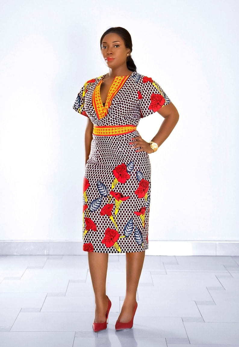 ab881560a8 NEW IN :African print Floral fitted dressAnkara | Etsy