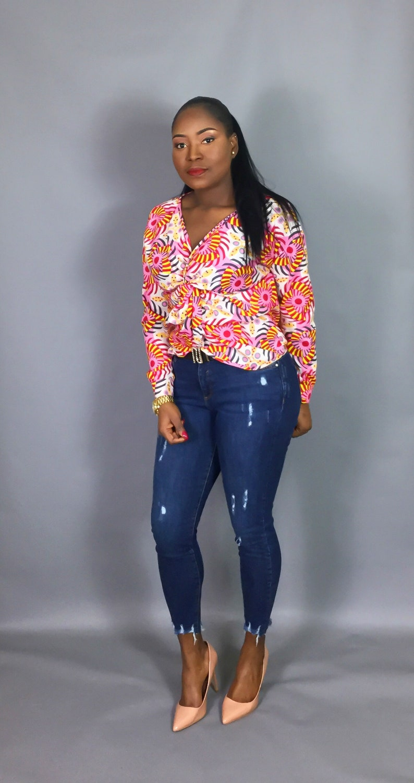 handmade clothing,front twist top,dashiki top,Vlisco wax top,Ankara clothing,tops and blouses robe wax African clothing jupe wax