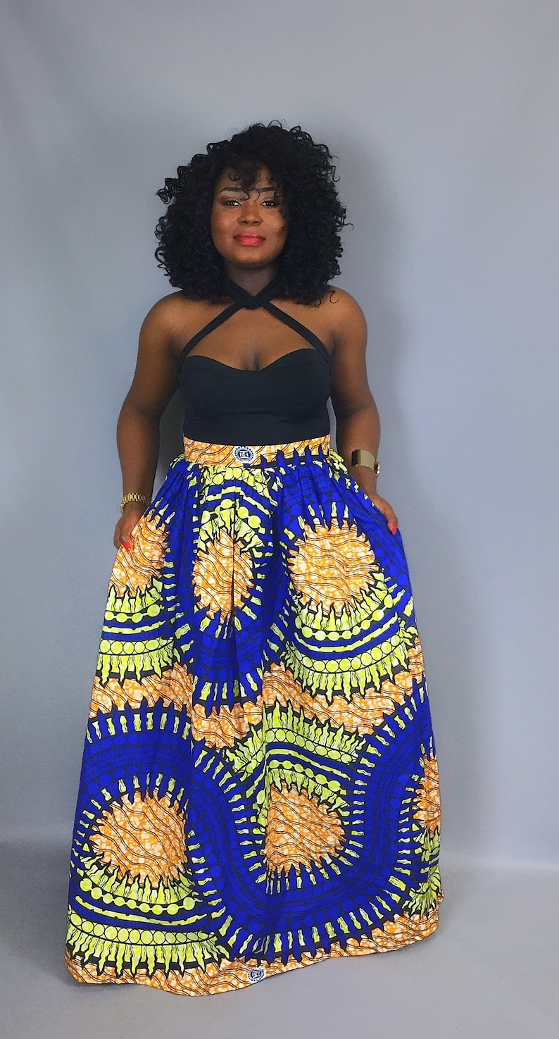 African print maxi skirt with pockets,African clothing,African skirts,dashiki dresses,dashiki fabric,robe wax,African midi skirts