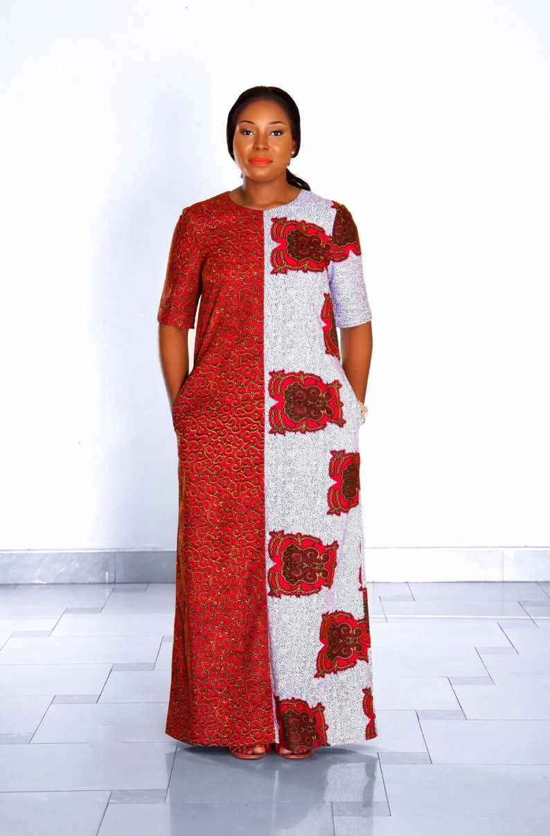 247d2c44ab NEW IN:Red African mixed print maxi dress womens clothing | Etsy