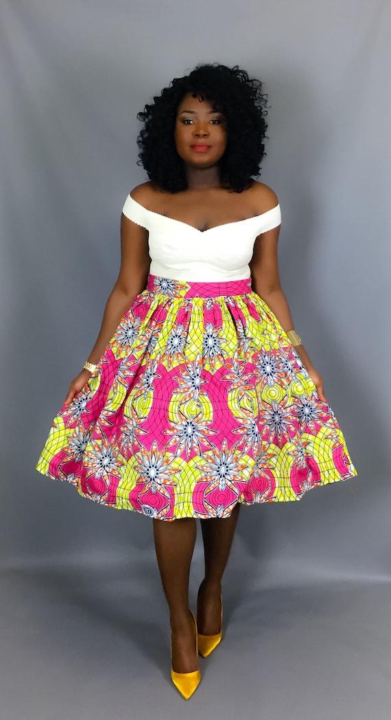 jupe africaine midi complet imprim rose avec des poches. Black Bedroom Furniture Sets. Home Design Ideas