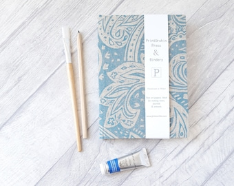 Fabriano Watercolour Paisley print  A5 Field book, 20 pages, Fabriano Rosaspina hot pressed paper 285gsm, Watercolour Sketchbook
