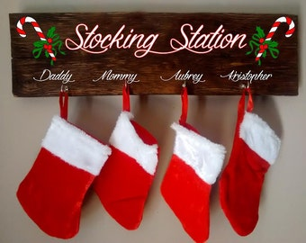 stocking station stocking hanger personalized stocking holder holiday decor christmas decor christmas stocking holder