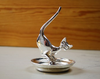 Vintage silver plated Ring holder from England, Cat with Tail in Air | Vintage Ring Dish | Jewelry Organizer | Ring Stand | Vintage Items