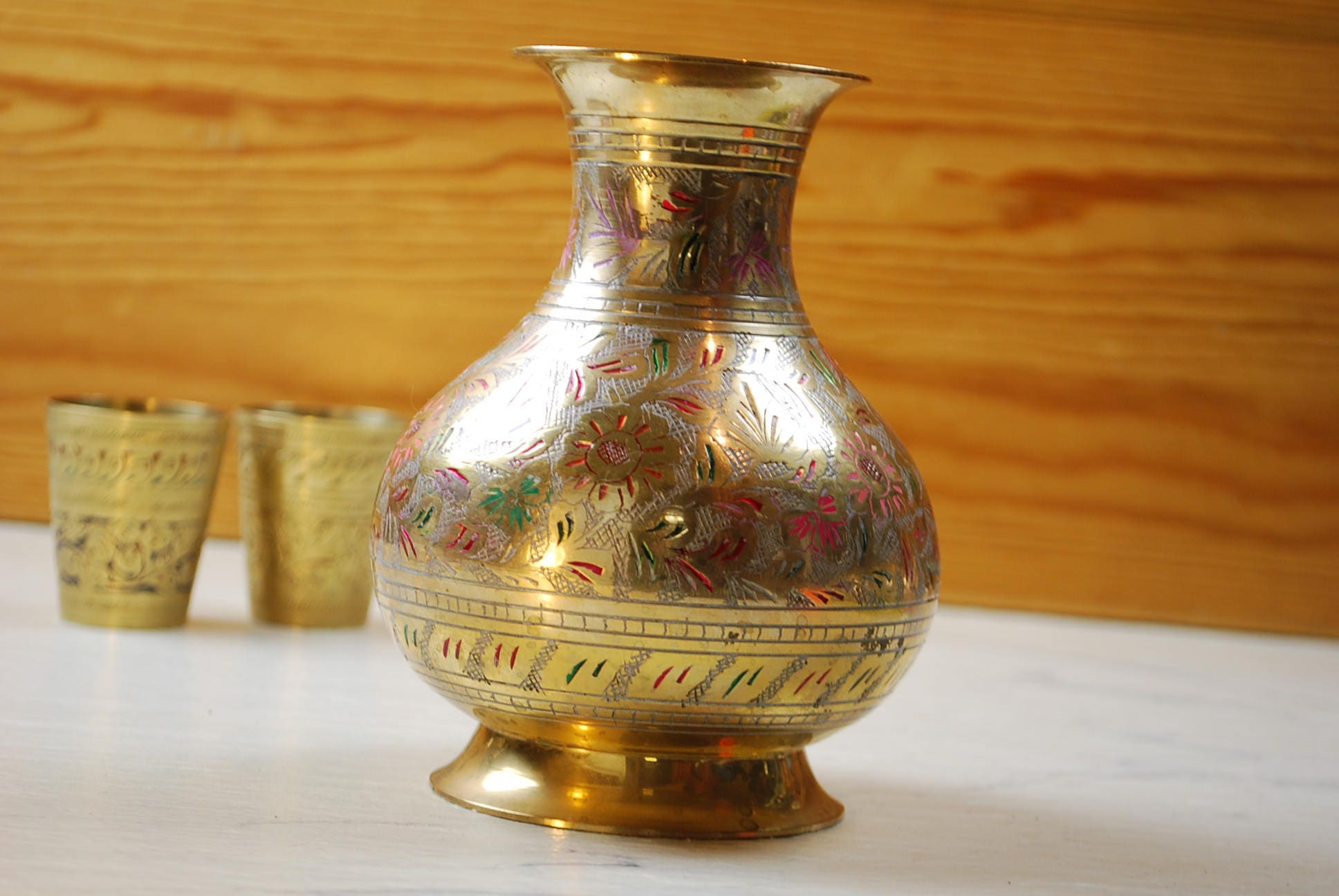 Vintage Brass Vase From India Handmade Engraved Vase Home Decor Vintage Items Table Decor Brass Flower Vases Restaurant Decor