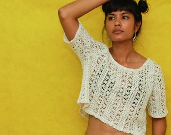 Crochet Knit White Crop Top Small