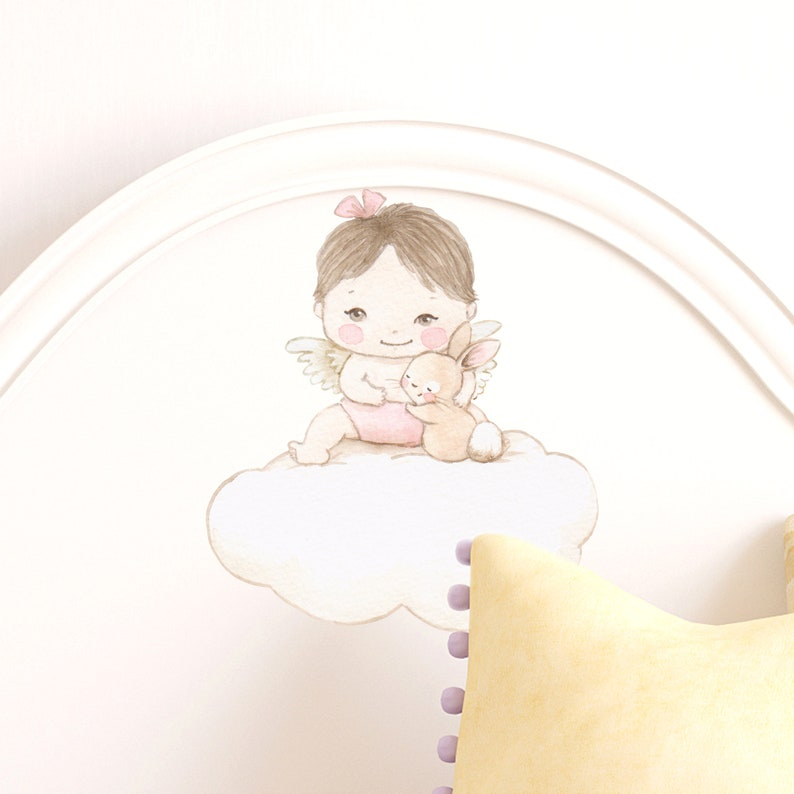 Lovely Angel watercolor mini expression art sticker decal by Aida Zamora