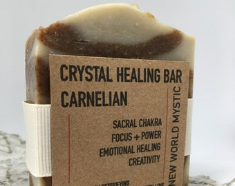 Crystal Healing Bar | Carnelian with Bentonite Clay | Hibiscus Flower | Blood Orange | Grapefruit | Lemon & Ginger Essential Oils