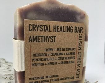 Crystal Healing Bar | Amethyst with Bentonite Clay | Alkanet Root | Lavender Essential Oil