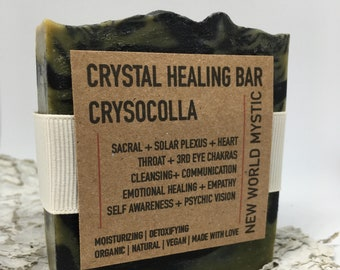 Crystal Healing Bar | Chrysocolla with Activated Coconut Charcoal | Spirulina | Tea Tree & Lemon Essential Oils