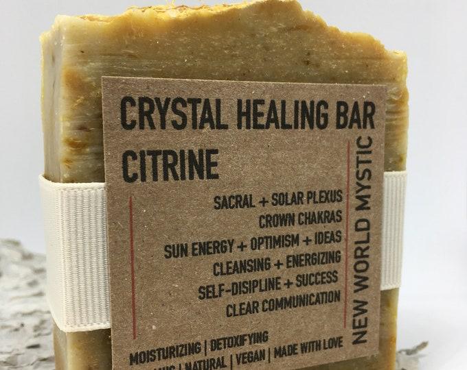 Featured listing image: Crystal Healing Bar | Citrine w/ Bentonite Clay | Orange Peel | Calendula Flower | Grapefruit | Blood Orange | Orange | Lemon Essential Oil