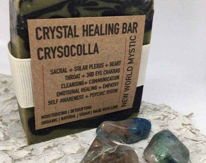 Featured listing image: Crystal Healing Bar | Chrysocolla with Activated Coconut Charcoal | Spirulina | Tea Tree & Lemon Essential Oils