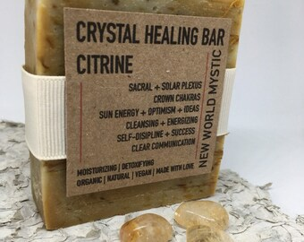 Crystal Healing Bar | Citrine w/ Bentonite Clay | Orange Peel | Calendula Flower | Grapefruit | Blood Orange | Orange | Lemon Essential Oil