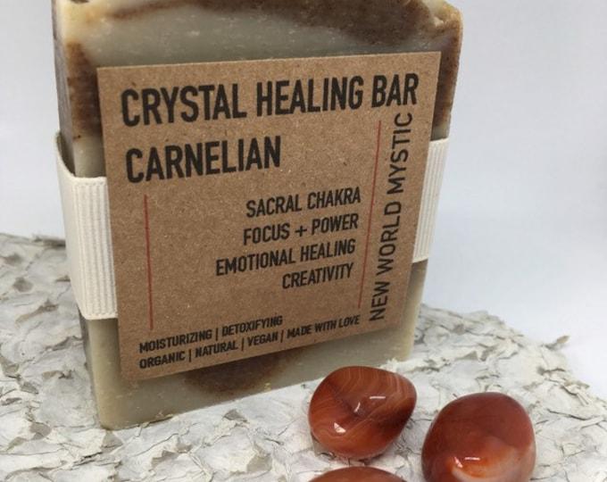 Crystal Healing Bar | Carnelian with Bentonite Clay | Hibiscus Flower | Blood Orange | Grapefruit | Lemon & Ginger Essential Oils