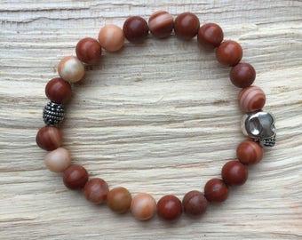 Gemstone skull bracelet red banded jasper
