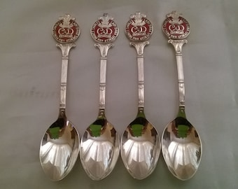 4 x Vintage Silver Plated Teaspoons - Prince Charles & Lady Diana 1981 Royal Wedding