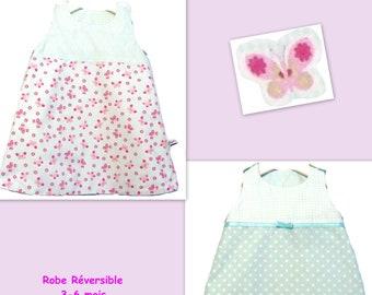 6e3d688452 Reversible Dress Toddler Dress Trapeze Baby Dress Spring Summer Girls Dress  3-6 months Gingham Dress Butterfly Dress cotton made in France