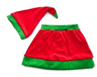 Premier Noël Bébé 6-9 mois Jupe Bébé Fille Jupe Bonnet Bébé Jupe Bonnet  Lutin Vêtement Bébé Noël Velours Coton fabriqué en France 5baee4652dd