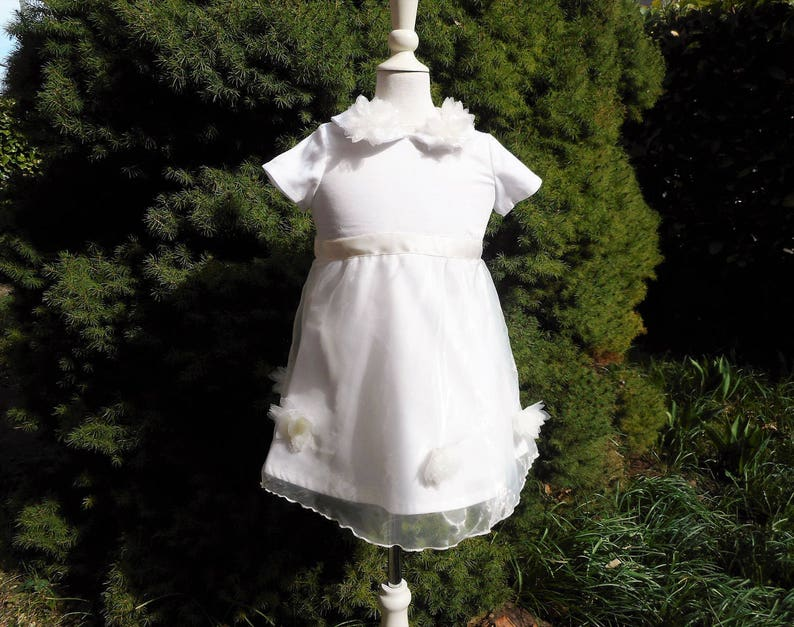 Ceremony Baby Dress Procession Girls Dress 12-18 months Toddler Dress Baptism Dress  Off-White Organza Flowers Satin Cotton made in France