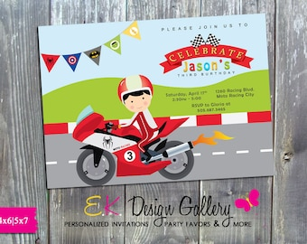 Motorcycle Birthday Invitation Motocross Invite Racing Party Digital Printable DIY