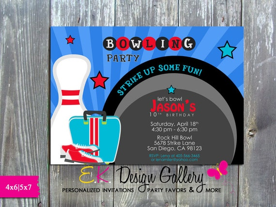 Printable Party Invite Bowling Game Night Birthday Party Invitation Digital Invitation Bowling Invite DIY