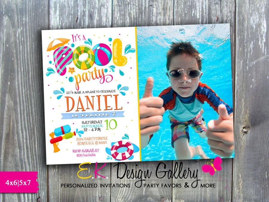 Pool Party Invitation Birthday Photo Invite
