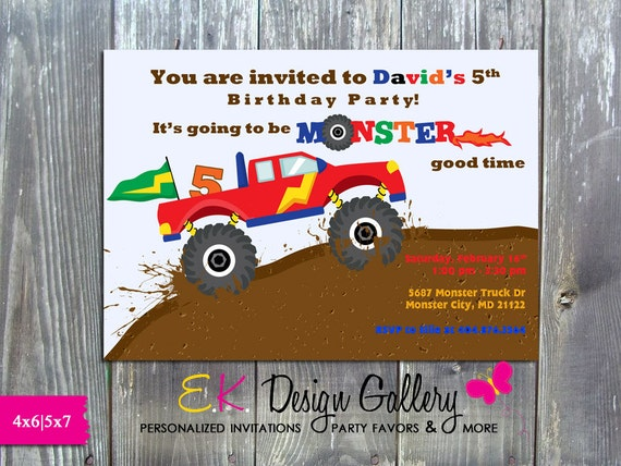 monster truck invitation monster truck birthday party etsy