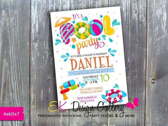 Pool Party Invitation Birthday