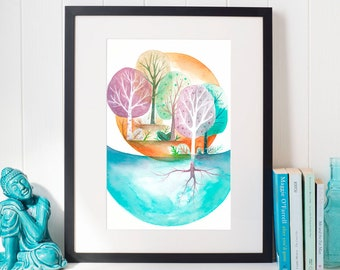 Enchanted forest landscape painting, coastal wall decor landscape painting, coastal wall art, enchanted forest painting, landscape yoga art